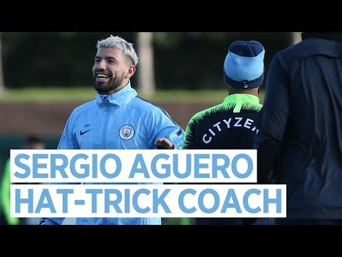 Video: AGUERO THE HAT-TRICK COACH   Post Arsenal Training