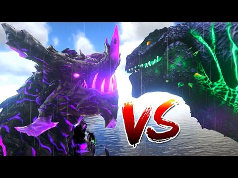 Ark Survival Evolved - GODZILLA vs LEGENDARY DRAGON GOD, WARDEN BATTLE - (Ark Modded Gameplay)