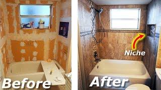 How To Tile Bathroom Shower Walls/Tub Surround, Niche Start/Finish