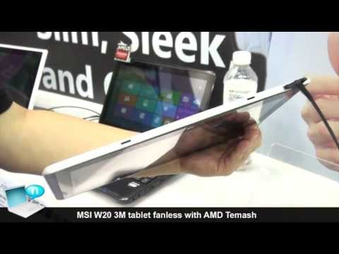 MSI W20 3M, tablet fanless with AMD Temash and Windows 8