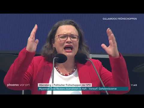 Andrea Nahles beim politischen Frühschoppen der SPD ...