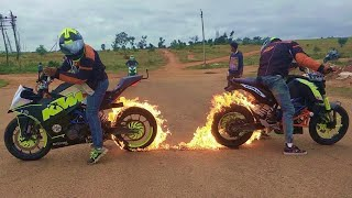 Fire Burnout & Stunning Stunts on KTM DUKE 200, KTM RC 200 & HONDA DIO By Team LSi