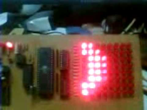 8x8 Dotmatrix Scrolling LED display with ATmega microcontroller,