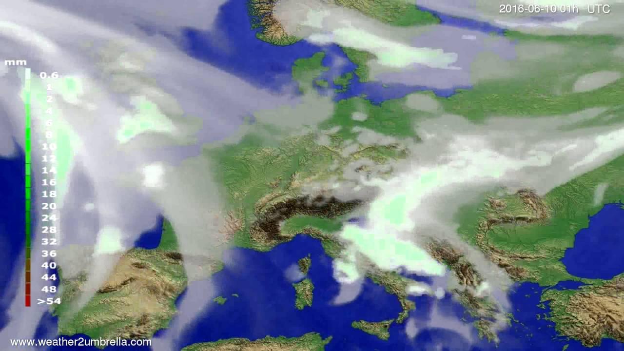 Precipitation forecast Europe 2016-06-07