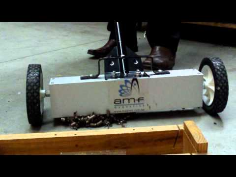 Watch the AMF Magnetic Sweeper in action, picking up a pile of metal swarf