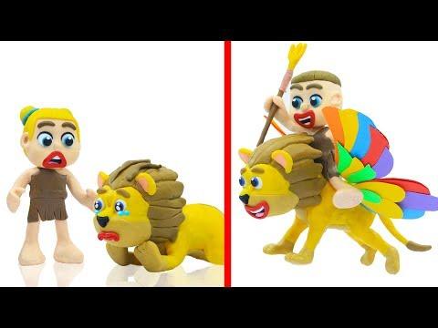 SUPERHERO BABY ANIMAL RESCUE LION FLYING  Play Doh Cartoons Animation
