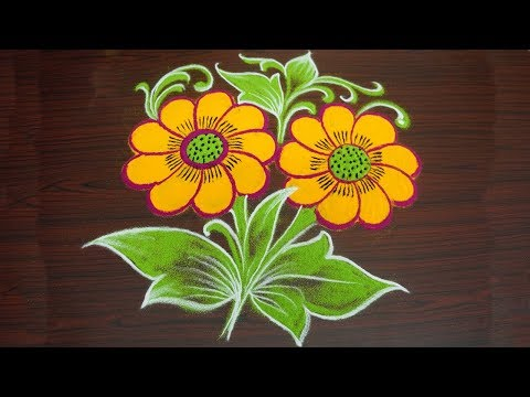 Video Beautiful Flower Rangoli Design with Colours | Simple Freehand Kolam | Muggulu without Dots download in MP3, 3GP, MP4, WEBM, AVI, FLV January 2017