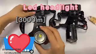 Ultra Bright Rechargeable LED Headlightfor Outdoorworkingand ridingZoomable IPX45 head flash youtube video