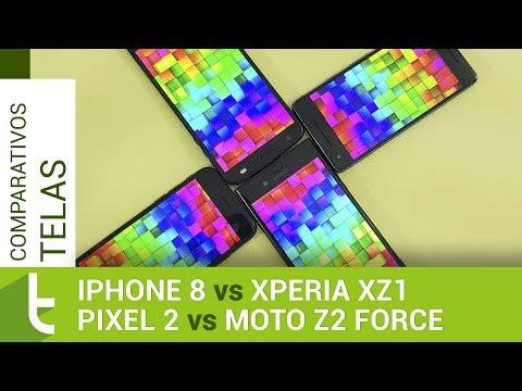 iPhone 8, Pixel 2, Moto Z2 Force e Xperia XZ1  Comparativo de telas do TudoCelular