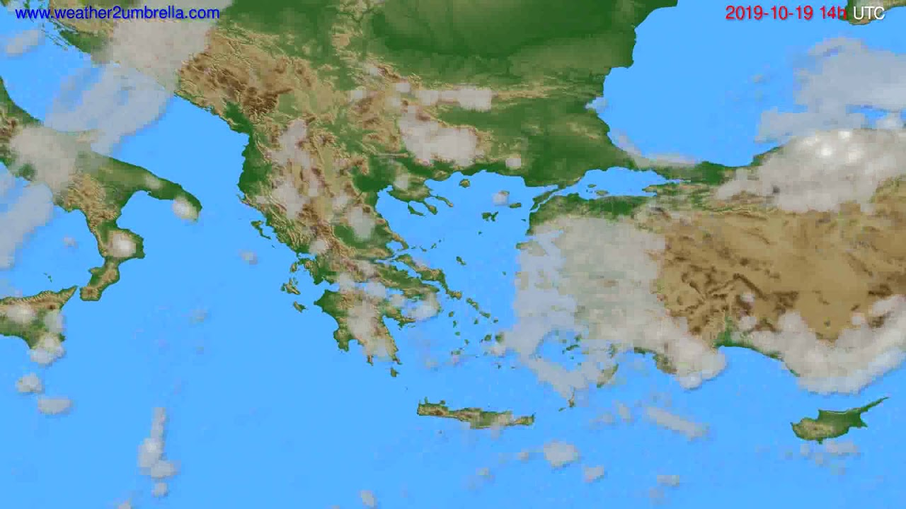 Cloud forecast Greece // modelrun: 12h UTC 2019-10-17