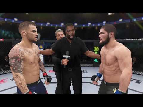 Dustin Poirier vs Khabib Nurmagomedov UFC 4 Simulation (AI)