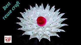 Home decorating flower from Disposable plate   Waste material craft - Episode 43