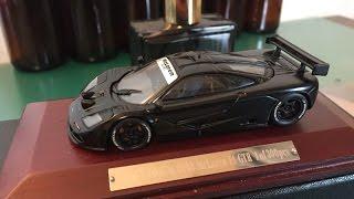 ホビーフォーラム2008  300台限定モデルダイキャストカー マクラーレン マットブラック これ、カッコイイ!動画を撮る前に一度開封した時に、早速箱を破ってしまいテープ貼ってます・・1/43 Diecast model car McLaren F1 GTR 1995
