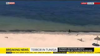 New video footage has emerged of Tunisia gunman running on beach after shooting tourists
