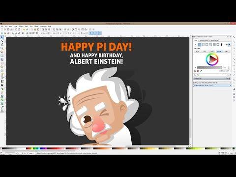 Drawing a cartoon Albert Einstein on Pi Day in Inkscape!