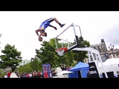 Man + Trampoline + Backflip + Basketball Hoop =  Ludicrous Dunk