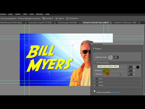 title graphics - Easy guide to creating full page title graphics and video billboards using Photoshop Elements.