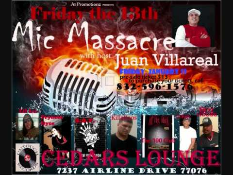 Juan Villareal hosting Mic Massacre at Cedars Lounge in Houston TX. A1 Promotionz