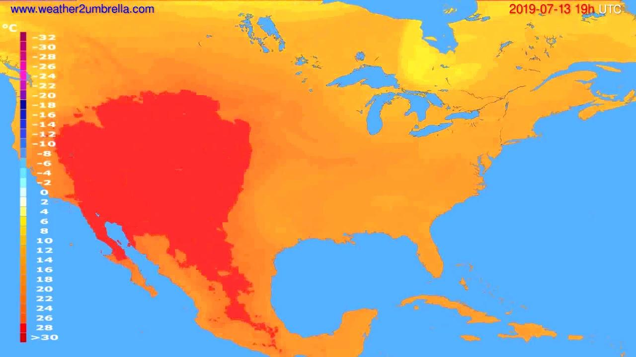 Temperature forecast USA & Canada // modelrun: 12h UTC 2019-07-10