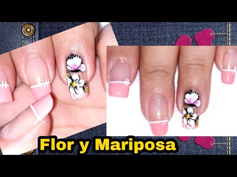 Decorados de uñas - Uñas sencillas de hacer/uñas decoradas con blanco y rosado pastel/uñas decoradas flore y mariposa