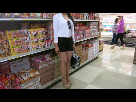 Sexy Girl Wears Extreme High Heels Shopping at Japanese Supermarket