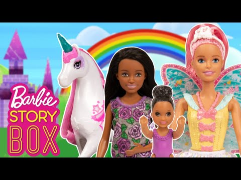 Will Babysitter and Baby Find Barbie Unicorn in the Rainbow Realm? | Barbie Story Box | @Barbie