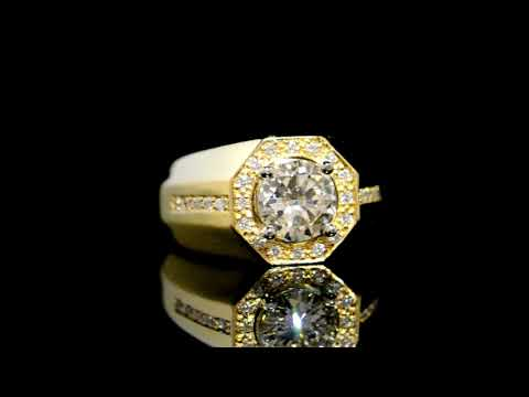 Men's 18k Yellow Gold 1.72ct Round Brilliant Cut Diamond Ring