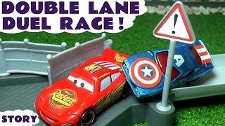 Video Disney Cars Toys Duel Race McQueen vs Captain America Hulk Superman Family Fun Video for kids TT4U MP3, 3GP, MP4, WEBM, AVI, FLV Mei 2017