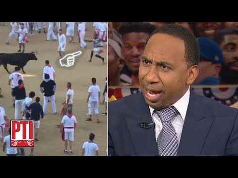Video: Stephen A. reacts to Josh Norman jumping over a bull | Pardon the Interruption