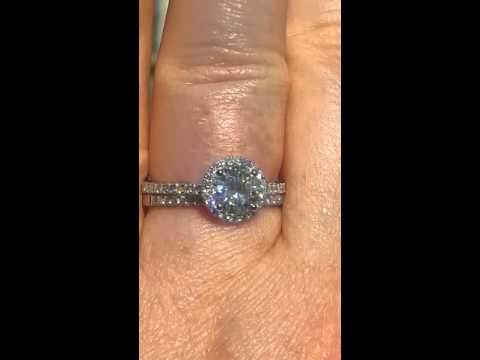 Moissanite Wedding Set, White Gold Diamond Halo Engagement Ring