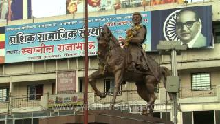 Solapur India  City pictures : Panjarpola crossroad and statue of Shivaji Maharaj, Solapur, Maharashtra, India.