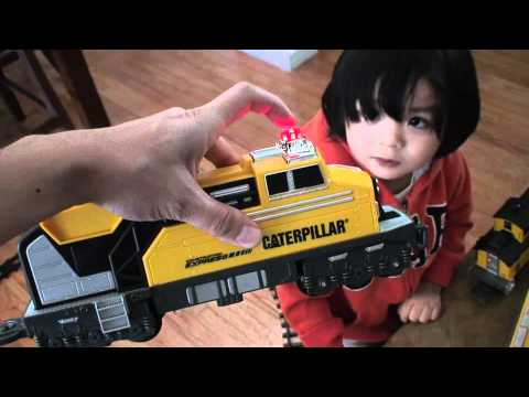 Toy Trains for Kids: Unboxing Construction Model Railway Train (CAT)