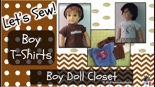 Boy Doll T-Shirt for American Girl Boy Doll, sewing for the boy doll, upcycle, easy how to