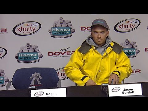 NASCAR fan impersonates crew chief, answers multiple questions during media interview.