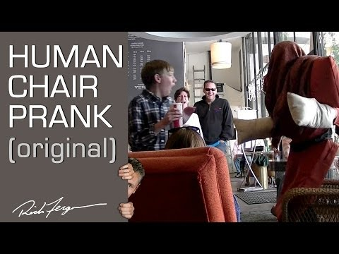 scare - The Human Chair Attack Prank seen on NBC's The Today Show! http://amzn.to/11QPLz7 - Get our magic/pranks/dating book! Share with friends! Magician Rich Fergu...