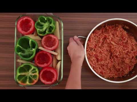 Gemista (Greek Stuffed Tomatoes & Peppers) Inspired by Sumati Menda - Veggie Buzz