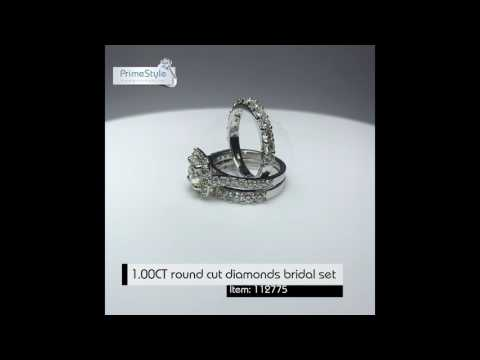 1.00CT round cut diamonds bridal set