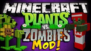 Minecraft: Plants vs. Zombies Mod - PEA SHOOTERS, SUNFLOWERS, ITEMS,&MORE! (HD)