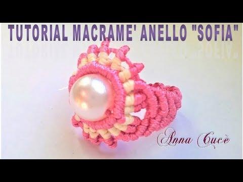 anello con perla centrale in macramè