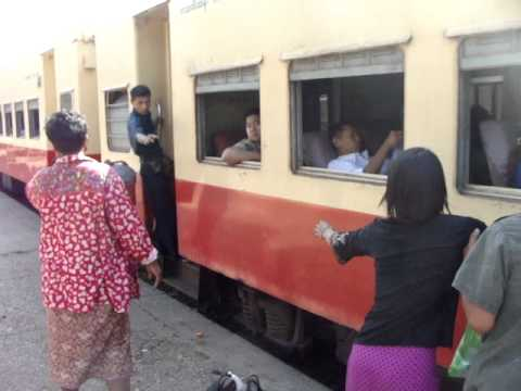 This is how to get on a train in Burma