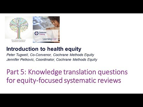 Knowledge translation questions for equity-focused systematic reviews