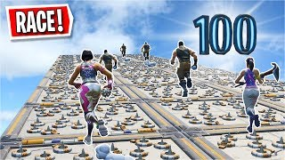 I played a 100 Level Deathrun RACE againt 9 PEOPLE... (Fortnite Creative)