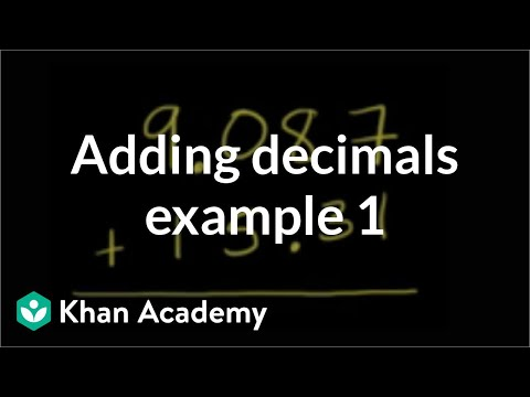 Adding decimals example 1