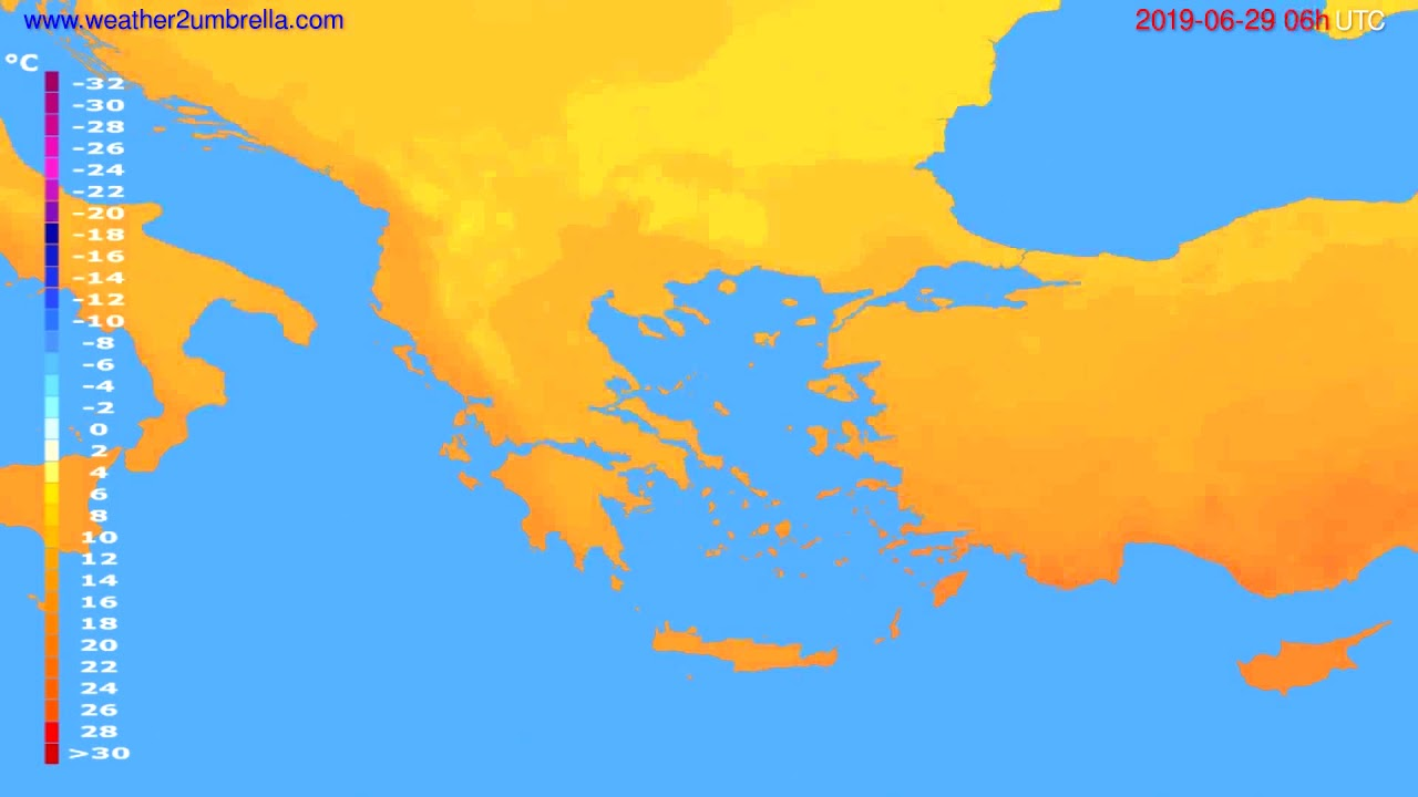 Temperature forecast Greece // modelrun: 12h UTC 2019-06-26
