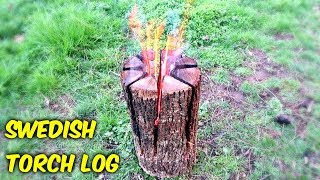 Swedish Torch Log with a Chainsaw