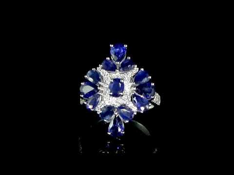 Lady's 18k White Gold 4.95ct (TW) Blue Sapphire and Diamond Ring