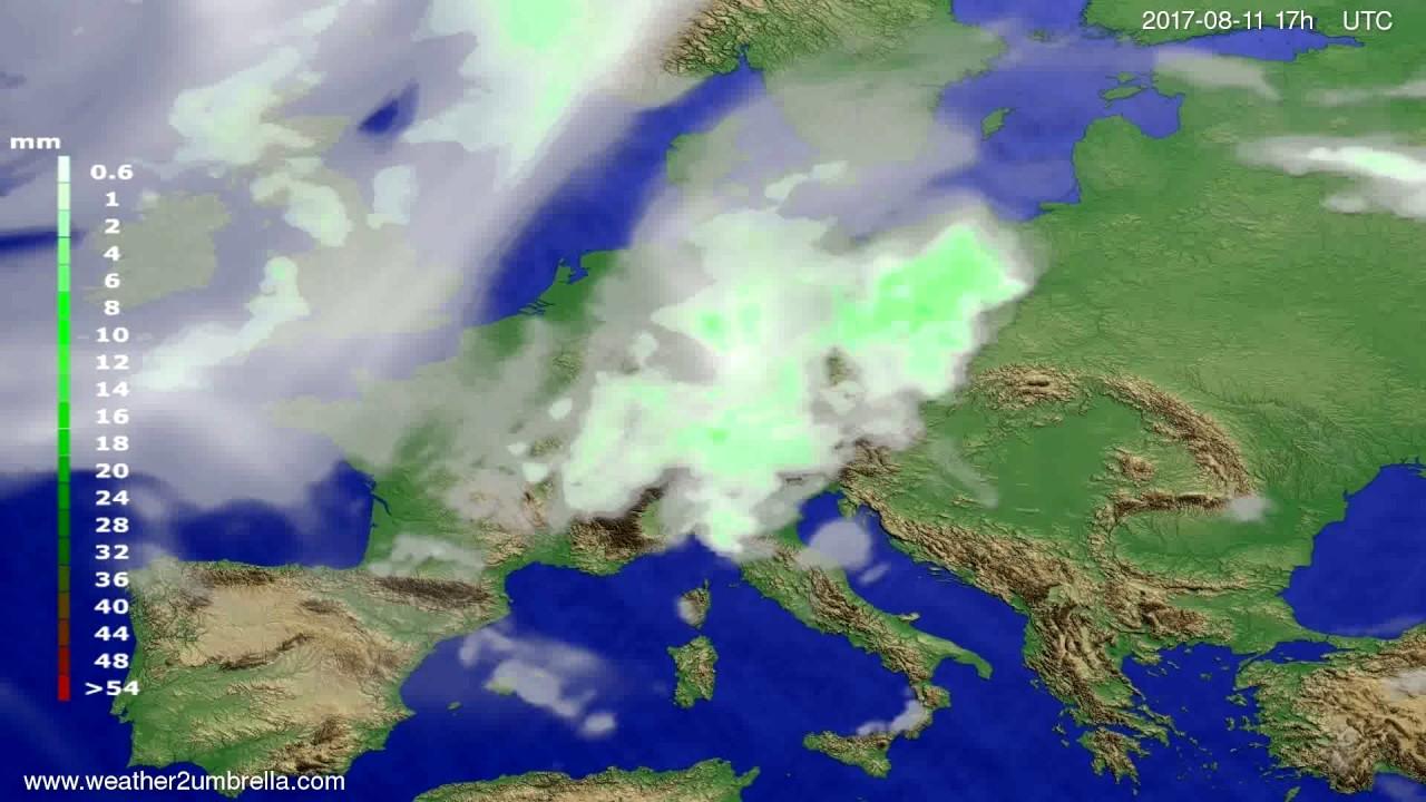Precipitation forecast Europe 2017-08-09