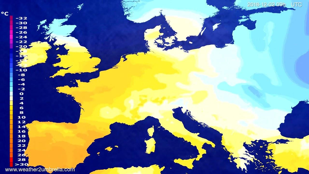 Temperature forecast Europe 2018-11-28