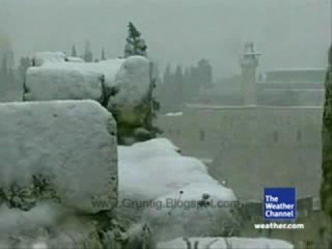 الثلوج تغطي المسجد الاقصى في القدس شتاء 2007-2008