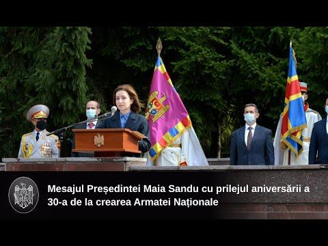 Mesajul Președintelui Republicii Moldova, Maia Sandu, cu prilejul aniversării a 30-a de la crearea Armatei Naționale